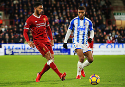 Joe Gomez of Liverpool and Steve Mounie of Huddersfield Town - Mandatory by-line: Matt McNulty/JMP - 30/01/2018 - FOOTBALL - John Smith's Stadium - Huddersfield, England - Huddersfield Town v Liverpool - Premier League