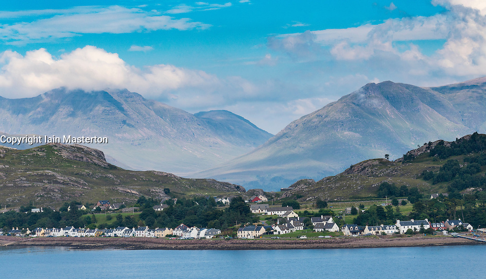 View of village of Shieldaig in Torridon,  Wester Ross,Scotland, United Kingdom