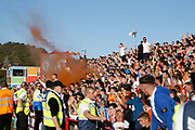 Goal celebration by Blackpool fans during the EFL Sky Bet League 1 match between Accrington Stanley and Blackpool at the Fraser Eagle Stadium, Accrington, England on 21 September 2019.