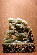 Jade cranes and pine trees scene on display in the Huahui Jade Factory and Showroom, Xian, China