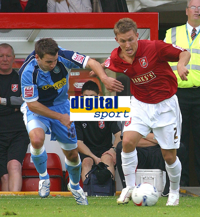 Photo: Dave Linney.<br />Walsall v Wycombe Wanderers. Coca Cola League 2. 14/10/2006.Walsall's Craig Pead  (R) in action with  Matt Bloomfield
