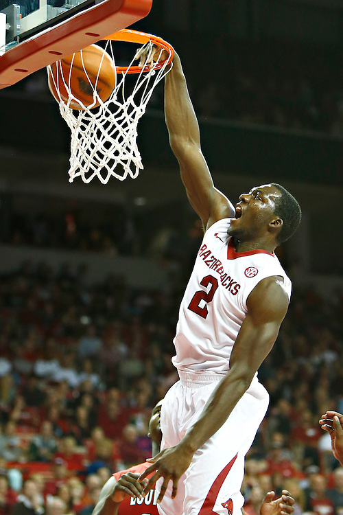 FAYETTEVILLE, AR - NOVEMBER 15:  Alandise Harris #2 of the Arkansas Razorbacks dunks the ball against the Louisiana Ragin' Cajuns at Bud Walton Arena on November 15, 2013 in Fayetteville, Arkansas.  (Photo by Wesley Hitt/Getty Images) *** Local Caption *** Alandise Harris