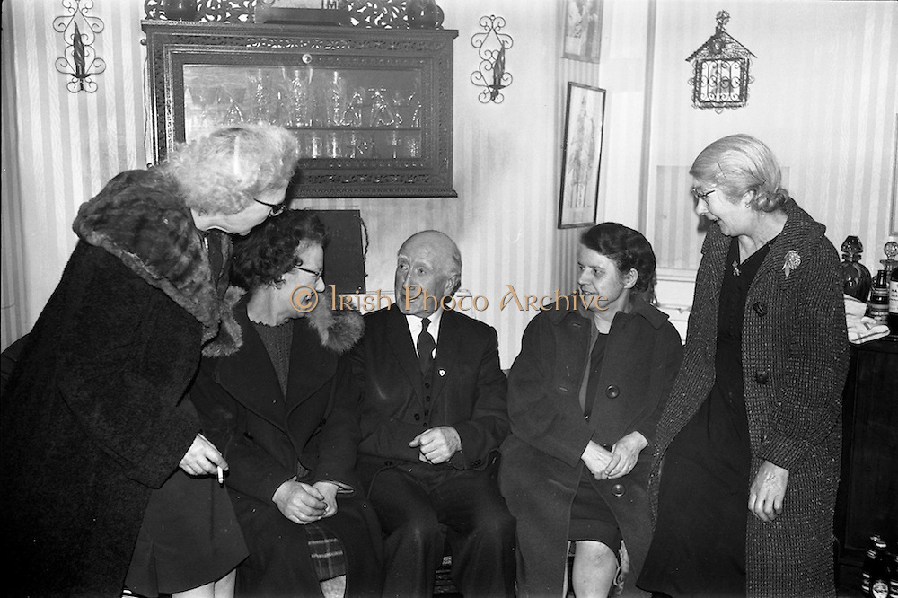 13/02/1964<br /> 02/13/1964<br /> 13 February 1964<br /> Party at the Olympia Theatre, Dublin. At the party with 151 years service between them (l-r): Miss Sylvia Johnson (31 yrs), Bar; Miss May Begley (25 yrs), seats and bar attendant; James Traynor (50 yrs), secretary; Miss Lena McCauley, (20 yrs) Cashier and Miss Kathleen Kelly, (30 yrs), bar.