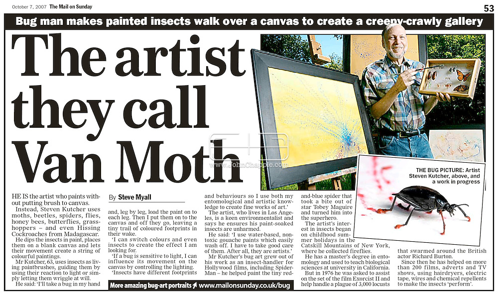 "MAIL ON SUNDAY, 7th OCTOBER 2007, PAGE 53...13th September 2007, Arcadia, California. ""Bug Art"". Californian artist Steven R. Kutcher uses his knowledge of insects to produce unique artwork. Steven, who supplies creepy crawlies to the Hollywood movie industry, paints the bugs feet and then guides them around the canvas. Steven's tiny artist include beetles, flys, honey bees, butterflies, grasshoppers, moths, and Hissing Cockroaches from Madagascar. Pictured is a Darkling Beetle having his feet painted red. PHOTO © JOHN CHAPPLE / REBEL IMAGES.t: 310 570 9100.e: john@chapple.biz.w: www.chapple.biz"