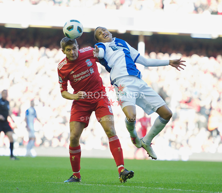 LIVERPOOL, ENGLAND - Sunday, October 24, 2010: Liverpool's captain Steven Gerrard MBE in action against Blackburn Rovers during the Premiership match at Anfield. (Photo by David Rawcliffe/Propaganda)