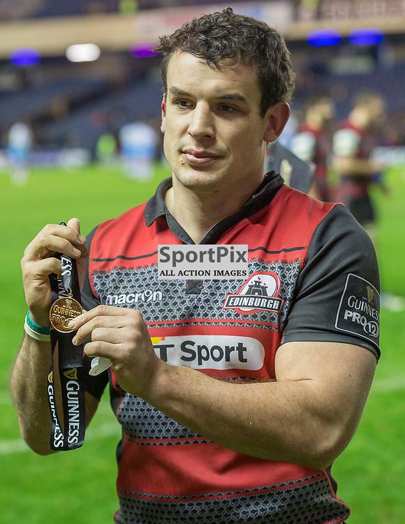 Man of the match Edinburgh's John Hardie.  Edinburgh Rugby v Glasgow Warriors, 27th December 2015