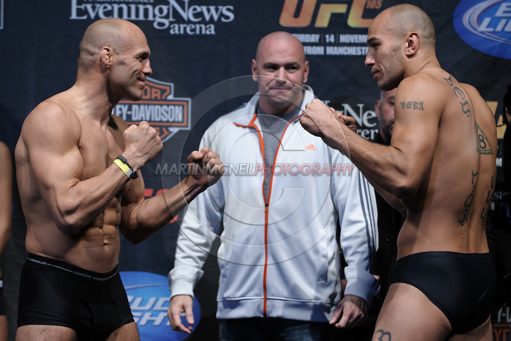 MANCHESTER, ENGLAND, NOVEMBER 13, 2009: Randy Couture (left) and Brandon Vera face off during the weigh-ins for UFC 105 at the MEN Arena in Manchester, England on November 13, 2009.