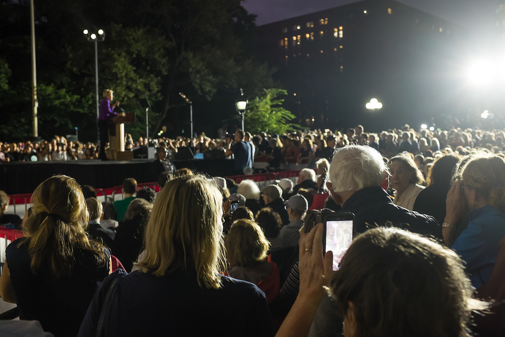 New York, NY – 16 September 2019. Massachusetts Senator and Democratic Presidential candidate Elizabeth Warren drew a large and enthusiastic crowd at a speech for her increasingly popular 2020 presidential campaign in New York's Washington Square. The crowd filled Washington Square Park.