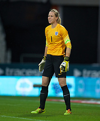 CARDIFF, WALES - Tuesday, August 21, 2014: England's goalkeeper Karen Bardsley in action against Wales during the FIFA Women's World Cup Canada 2015 Qualifying Group 6 match at the Cardiff City Stadium. (Pic by David Rawcliffe/Propaganda)