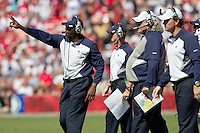 18 September 2011: Secondary coach Brett Maxie calls in plays to the  Dallas Cowboys defense during the first half of the Cowboys 27-24 overtime victory against the 49ers in an NFL football game at Candlestick Park in San Francisco, CA