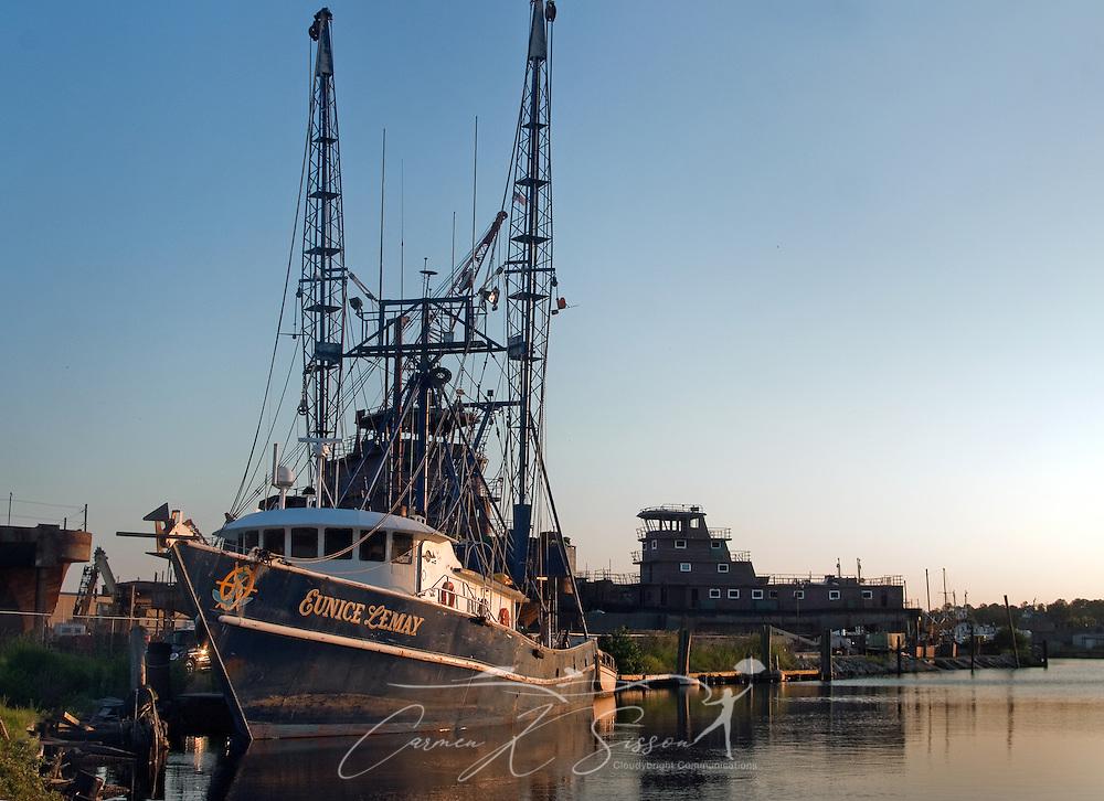 A shrimp boat is docked in Bayou La Batre, Ala. (Photo by Carmen K. Sisson/Cloudybright)