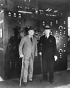 Guglielmo Marconi (1874-1937) Italian radio pioneer, right, and David Sarnoff (1891-1971) Russian-born American pioneer of radio and television broadcasting, at RCA's 'Radio Central', Riverhead, Long Island, New York, 1933. Photograph