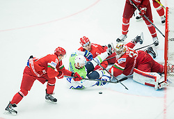Jan Mursak of Slovenia vs Artur Gavrus of Belarus, Nikolai Stasenko of Belarus and Kevin Lalande of Belarus during Ice Hockey match between Belarus and Slovenia at Day 2 in Group B of 2015 IIHF World Championship, on May 2, 2015 in CEZ Arena, Ostrava, Czech Republic. Photo by Vid Ponikvar / Sportida