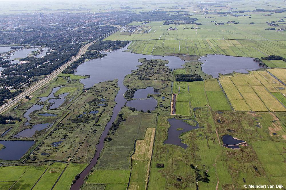 Luchtfoto van natuurgebied Grote Wielen (Grutte Wielen) bij recreatiegebied Groene Ster bij Leeuwarden