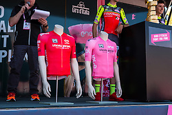 Pink leaders jersey and red sprint jersey on the podium at the start, stage 2 from Arnhem to Nijmegen running 190 km of the 99th Giro d'Italia (UCI WorldTour), The Netherlands, 7 May 2016. Photo by Pim Nijland / PelotonPhotos.com | All photos usage must carry mandatory copyright credit (Peloton Photos | Pim Nijland)
