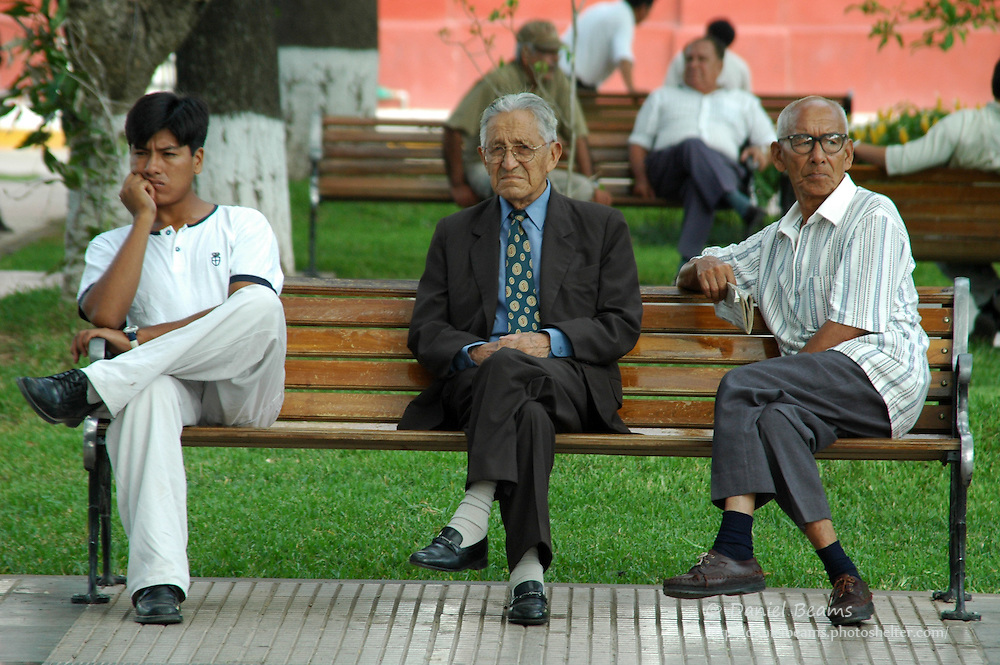 Men on bench in Santa Cruz, Bolivia