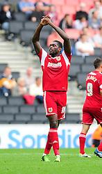 Bristol City's Jay Emmanuel-Thomas celebrates after Sam Baldock scores his second goal  - Photo mandatory by-line: Dougie Allward/JMP - Tel: Mobile: 07966 386802 24/08/2013 - SPORT - FOOTBALL - Stadium MK - Milton Keynes -  Milton Keynes Dons V Bristol City - Sky Bet League One