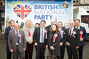 British National Party election manifesto launch for the May 3 London Assembly elections in East London, Great Britain <br /> 9th April 2012 <br /> <br /> <br /> Paul Sturdy <br /> Paul Borg <br /> Donna Treanor <br /> David Furness <br /> Nick Griffin - chairman of the BNP <br /> Roberta Woods<br /> John Clarke <br /> Carlos Cortiglia <br /> mayor of London candidate for the BNP <br /> Roland Brooks <br /> Stephen Squire <br /> candidate and Regional Organiser for the whole of London<br /> <br /> Photograph by Elliott Franks