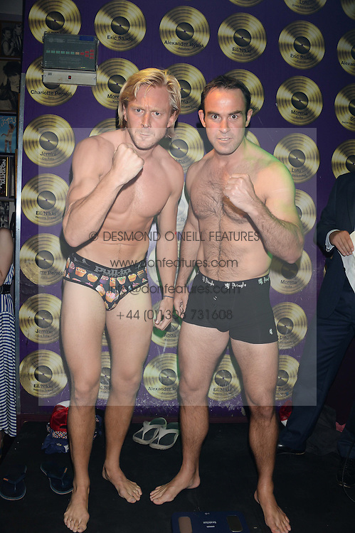 Left to right, OWAIN WALBYOFF and BALTHAZAR FABRICIUS at the Weigh In Party for the upcoming Boodles Boxing Ball held at Bunga Bunga, Battersea Bridge Road, London on 5th September 2013.