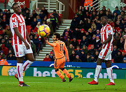 STOKE-ON-TRENT, ENGLAND - Wednesday, November 29, 2017: Liverpool's Mohamed Salah celebrates scoring the second goal during the FA Premier League match between Stoke City and Liverpool at the  Bet365 Stadium. (Pic by David Rawcliffe/Propaganda)