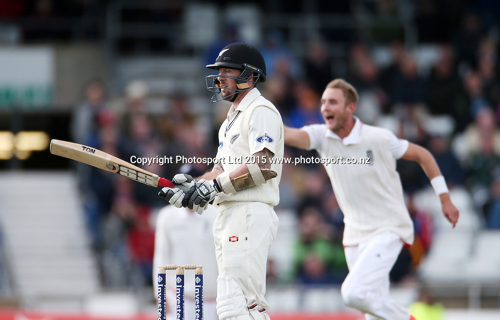 Luke Ronchi can't believe his luck as he's caught off the bowling of Stuart Broad (behind) during the second Investec Test Match between England and New Zealand at Headingley, Leeds. Photo: Graham Morris/www.photosport.co.nz