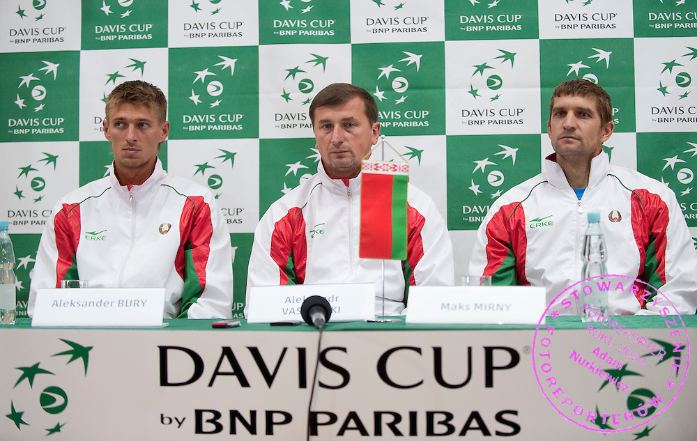 (L-R) Alexander Bury & Max Mirnyi & Aleksandr Vasilevski captain of Belarus' team while press conference after men's double game during the BNP Paribas Davis Cup 2012 between Poland and Belarus at MOSiR Hall in Lodz on September 15, 2012...Poland, Lodz, September 15, 2012..Picture also available in RAW (NEF) or TIFF format on special request...For editorial use only. Any commercial or promotional use requires permission...Photo by © Adam Nurkiewicz / Mediasport