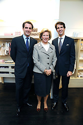 Left to right, PRINCE NIKOLAOS OF GREECE, HM QUEEN ANNE-MARIE OF GREECE and CROWN PRINCE PAVLOS OF GREECE at a party to celebrate the opening of Pincess Marie-Chantal of Greece's store 'Marie-Chantal' 133A Sloane Street, London on 14th October 2008.