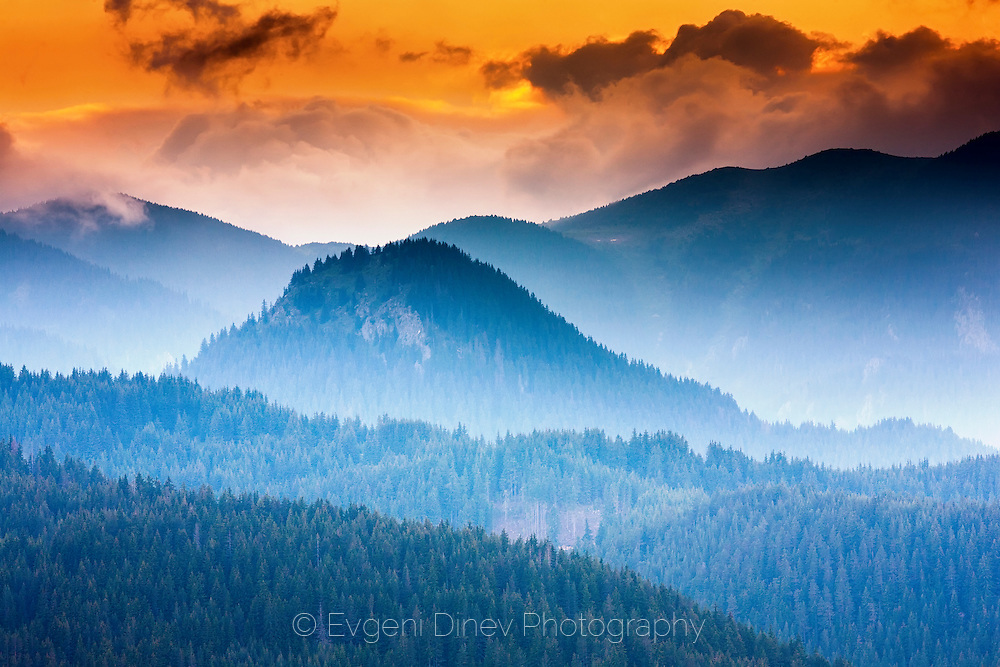 Rhodope Mountains at sunset