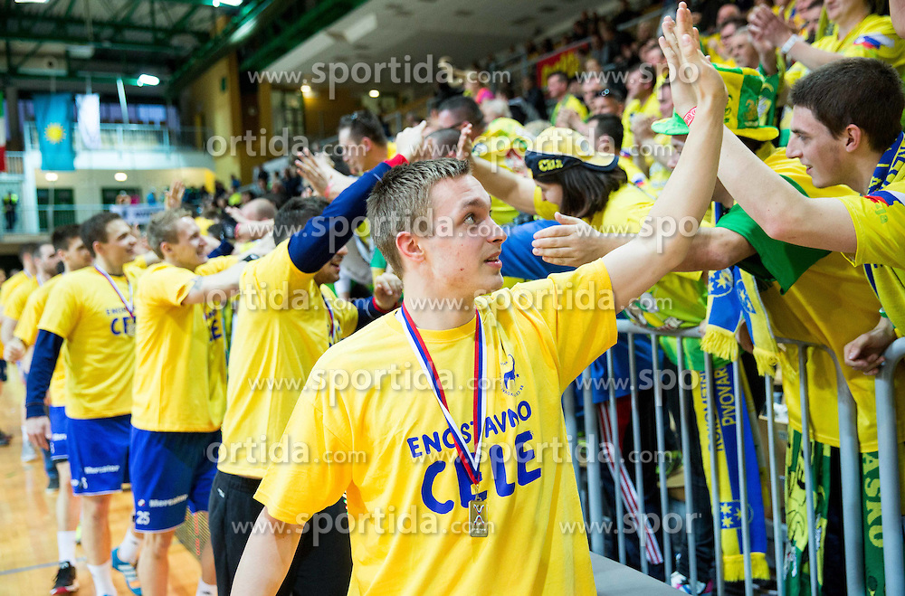 Gal Marguc of RK Celje PL  celebrates after winning during handball match between RK Celje Pivovarna Lasko and RK Gorenje Velenje in Final of Slovenian Handball Cup 2015, on March 29, 2015 in Arena Bonifika, Koper, Slovenia. RK Celje Pivovarna Lasko became Slovenian Cup Champion 2015. Photo by Vid Ponikvar / Sportida