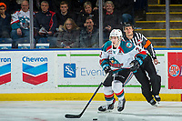 KELOWNA, CANADA - DECEMBER 27: James Hilsendager #2 of the Kelowna Rockets skates with the puck against the Kamloops Blazers on December 27, 2017 at Prospera Place in Kelowna, British Columbia, Canada.  (Photo by Marissa Baecker/Shoot the Breeze)  *** Local Caption ***