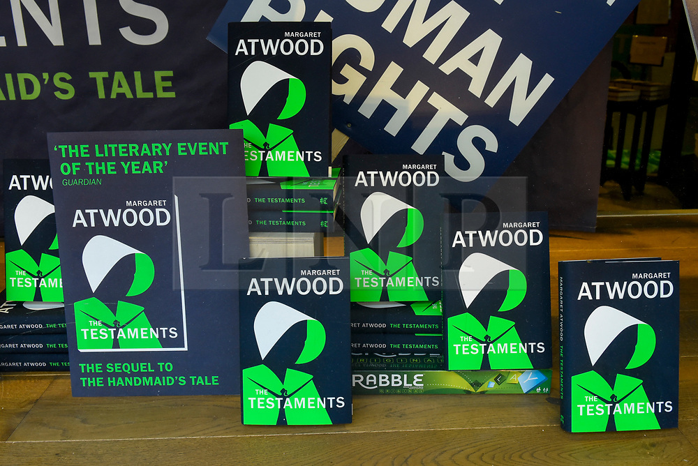 """© Licensed to London News Pictures. 10/09/2019. LONDON, UK.  Copies of """"The Testaments"""", the new book by author Margaret Atwood, are displayed at bookshop in Piccadilly.  """"The Testaments"""", released today, is the follow-up to the successful """"The Handmaid's Tale"""" and is already reported as being a candidate for the Booker Prize.  Photo credit: Stephen Chung/LNP"""