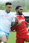 Gavin Tomlin battling for posession during the Sky Bet League 1 match between Crawley Town and Coventry City at the Checkatrade.com Stadium, Crawley, England on 3 May 2015. Photo by Michael Hulf.