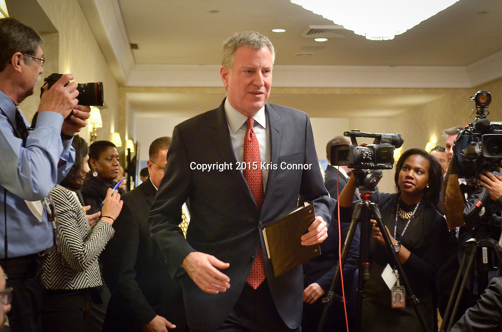 Mayor de Blasio speaks with 15 other mayors through out the country during a press conference on immigration reform during The United States Conference of Mayors Winter Meeting 2015 at the Capitol Hilton on January 23, 2015 in Washington DC. Photo by Kris Connor for New York Daily News