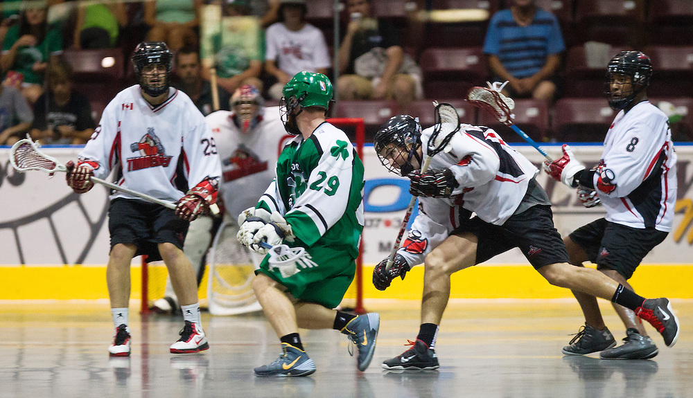 Victoria Shamrocks versus the Nanaimo Timbermen meet in the final game of the 2014 regular season. The Shamrocks beat the Timbermen 10-2 and move onto the playoffs finishing in first place in the Western Lacrosse association standings. (Kevin Light / VIctoria Shamrocks.