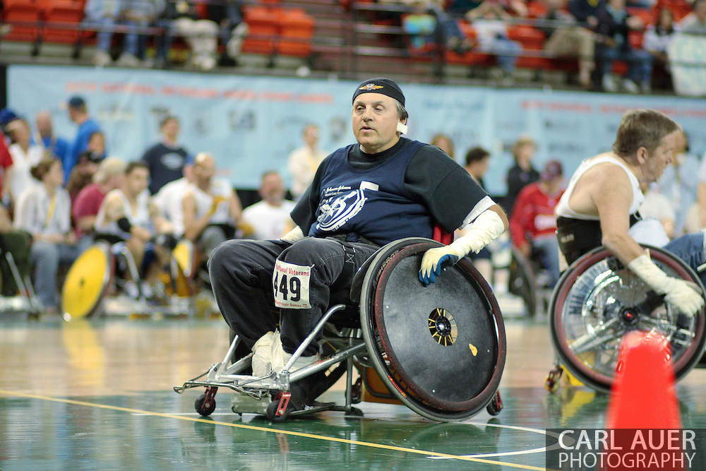 July 7th, 2006: Anchorage, AK - Phillip Rosenberg sets up as a blocker for the Blue team as White defeated Blue in the gold medal game of Quad Rugby at the 26th National Veterans Wheelchair Games.