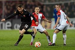 26-02-2015 NED: Europa League Feyenoord - AS Roma, Rotterdam<br /> In the photo  Daniele De Rossi #16, Jens Toornstra #28, Jordy Clasie © #6
