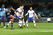 Wycombe Wanderers defender Anthony Stewart (5) scores a goal from open play 1-0 during the The FA Cup match between Wycombe Wanderers and Tranmere Rovers at Adams Park, High Wycombe, England on 20 November 2019.