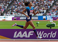 Athletics - 2017 IAAF London World Athletics Championships - Day Three, Morning Session<br /> <br /> 400m Women - Round One<br /> <br /> Allyson Felix (United States) comes home alone ahead of the field at the London Stadium <br /> <br /> <br /> COLORSPORT/DANIEL BEARHAM