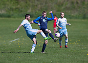 12/05/2018 - Cleppy Social (light blue) v Sidlaw Albion (dark blue) in the Dundee Saturday Morning Football League at Drumgeith, Dundee, Picture by David Young -