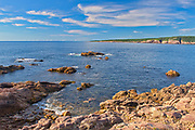 Rocky coastline along the Cabot Strait. Cabot Trail. Cape Breton Island. Appalachian Mountain chain.  <br />