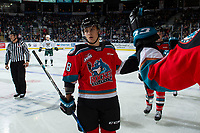 KELOWNA, BC - SEPTEMBER 28:  Leif Mattson #28 of the Kelowna Rockets fist bumps the bench to celebrate a goal against the Everett Silvertips  at Prospera Place on September 28, 2019 in Kelowna, Canada. (Photo by Marissa Baecker/Shoot the Breeze)