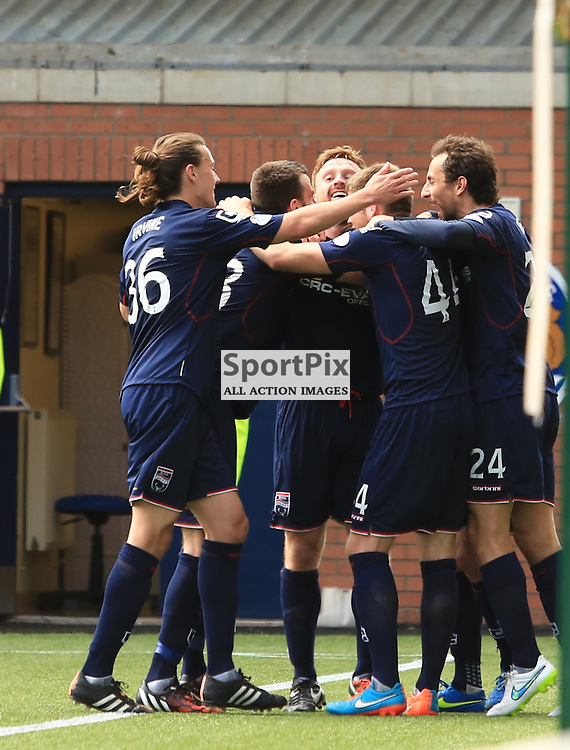 Ross County's Rocco Quinn celebrates with team mates after slotting home to put Ross County two one up during the Kilmarnock FC V Ross County FC Scottish Premiership 23rd May 2015  ©Edward Linton | SportPix.org.uk