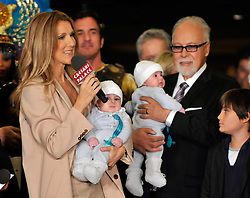 Feb. 16, 2011 - Las Vegas, Nevada, USA -  (L-R) Singer CELINE DION, holding her son NELSON ANGELIL, her husband and manager RENE ANGELIL, holding their son EDDY ANGELIL and their son RENE-CHARLES ANGELIL  are greeted as they arrive at Caesars Palace February 16, 2011 in Las Vegas, Nevada. Celine Dion will begin rehearsals for her new show set to debut March 15 at The Colosseum at Caesars Palace. (Credit Image: © David Becker/ZUMAPRESS.com)