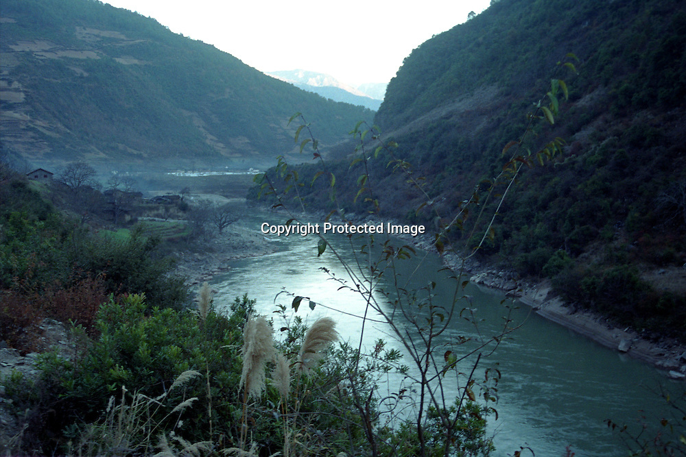 "DEQIN COUNTY, DECEMBER 17, 2000:the Mekong river in deqin county, Yunnan province , December 17, 2000..The area is believed to be part of the areas on which James Hilton's famous novel "" lost Horizon""- a description of Shangri-La- is modelled.. ."