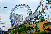 Roller Coaster at dome city amusement park in Tokyo, Japan