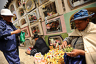 Women place green bags of dried coca leaves inside the tombs of their deceased relatives during Day of the Dead at the General cemetery in La Paz, Bolivia.
