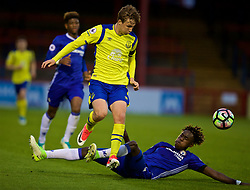 ALDERSHOT, ENGLAND - Friday, April 21, 2017: Everton's Kieran Dowell in action against Chelsea's Trevoh Chalobah during FA Premier League 2 Division 1 Under-23 match at the Recreation Ground. (Pic by David Rawcliffe/Propaganda)