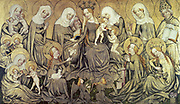 The Ortenberg Altarpiece c1410-1420? Centre panel: Virgin and Child surrounded by Saints, Anne, Elizabeth, Mary Cleophae, Mary Salome, Agnes (with Lamb) Barbara (with Castle) Dorothy (with Roses) Ismeria. Children are Christ's cousins.