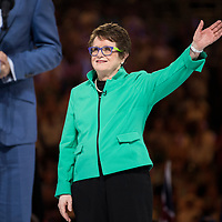 Billie Jean King during the trophy presentation after winning the women's singles championship match during the 2018 Australian Open on day 13 in Melbourne, Australia on Saturday night January 27, 2018.<br /> (Ben Solomon/Tennis Australia)